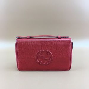 Preowned Gucci Red Soho GG Double Zip Wallet
